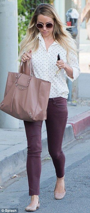 Love the color of jeans and purse...shirt style is cute, just not a fan of mostly white/mostly black clothes