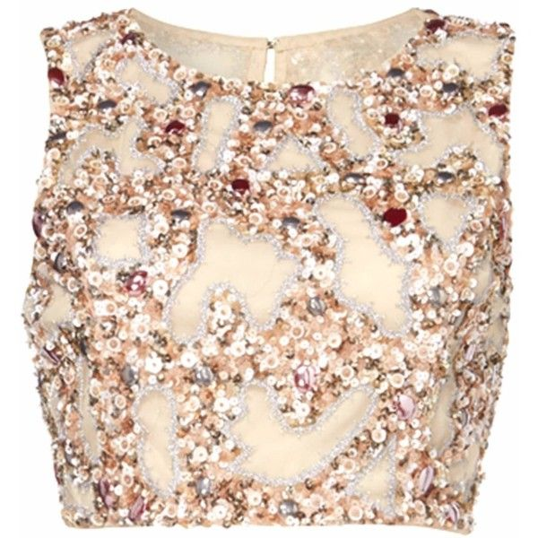 Raishma - Blush Embroidered Crop Top (£140) ❤ liked on Polyvore featuring tops, crop top, shirts, netted tops, embroidered tops, net crop top, pink top and net tops