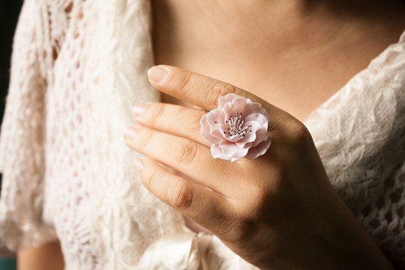 Anillo de flor de cerezo, flor hecha a mano de arcilla de polímero, anillo de sakura