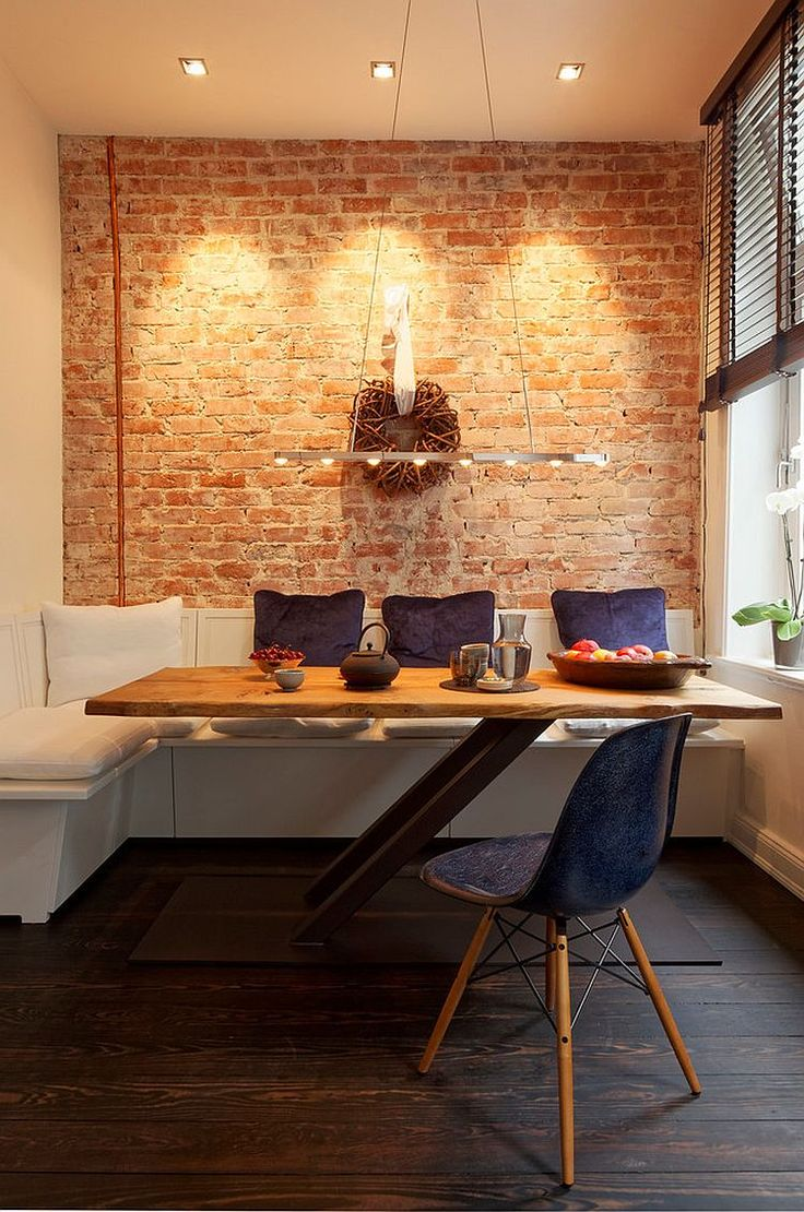 50 bold and inventive dining rooms with brick walls - Dining Table Design Ideas
