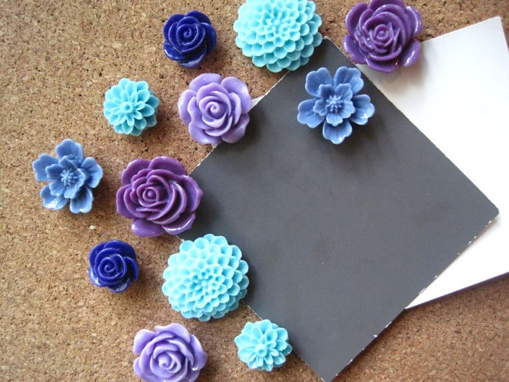 Thumbtack Set, 12 pc Flower Pushpins, Purple, Blue and Aqua, Office Supply, Bulletin Board Thumbtacks, Wedding Decor, Housewarming Gift by theindoorgardenshop on Etsy https://www.etsy.com/listing/202469783/thumbtack-set-12-pc-flower-pushpins