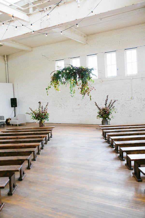 organic indoor ceremony - photo by Hazelwood Photo http://ruffledblog.com/scottish-chic-wedding-in-portland