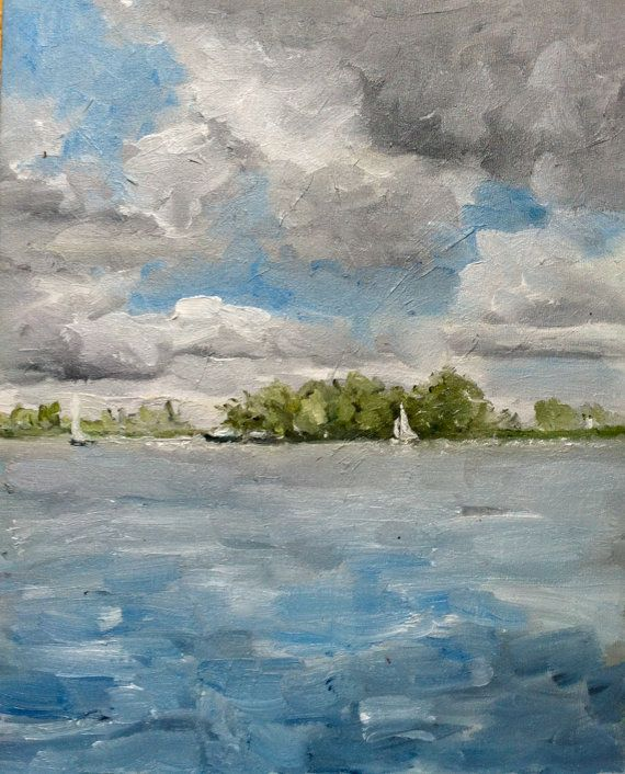 Summer sailing Netherlands plein air oil painting 24 x 30 cm, 9.45 x 11.81 inches Etsy $223