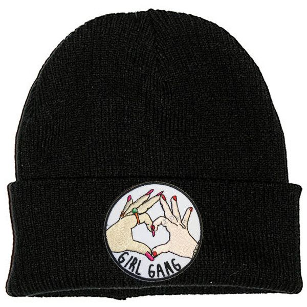 Girl Gang Black Beanie Hat Embroidered Patch 2 Sizes 90s Stoner Skater... ($11) ❤ liked on Polyvore featuring accessories, hats, slouchy beanie cap, beanie caps, hipster hat, fitted skate hats and fitted hats
