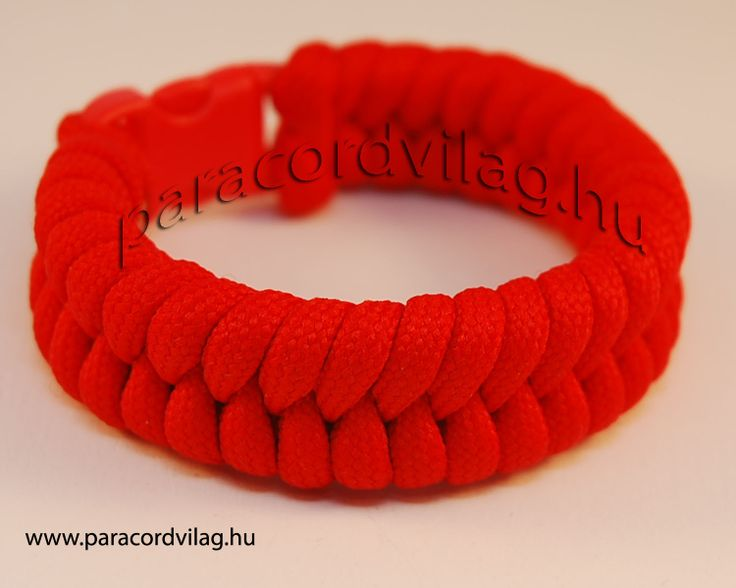 Paracord fishtail karkötő/Piros