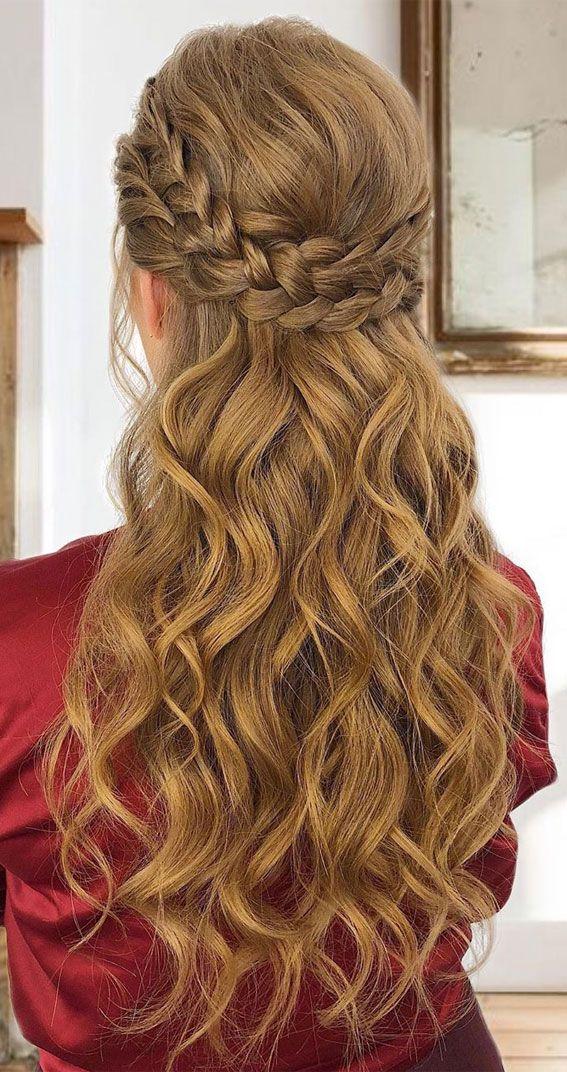43 Gorgeous Half Up Half Down Hairstyles Curls And Braids In 2020 Hair Styles Straight Hair Waves Half Up Half Down Hair