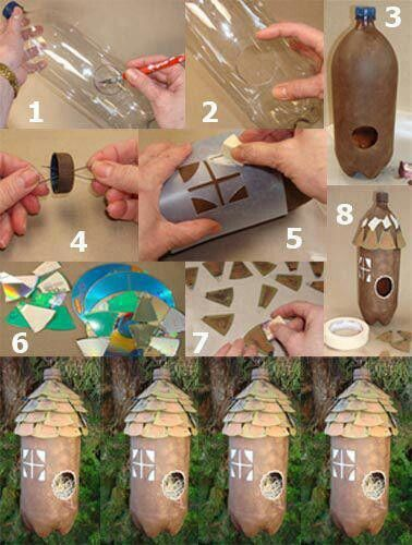Recycled bird houses. Most of these are really great ideas. However, please reconsider adding perches to your birdhouses as they make it easier for predators to get to the eggs and babies.