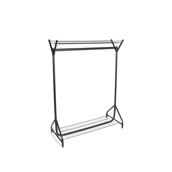 Heavy Duty Clothes Rail with Top and Bottom Shelf - 4 ft Wide, Black