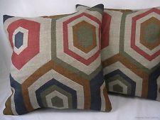 2 16x16 Red Tan Brown Green Blue Hexagon Tile Linen Scatter Pillow Cushion Cover