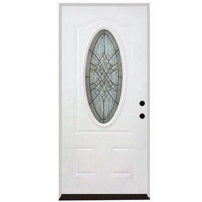 Webville Oval Lite 2-Panel Primed White Steel Prehung Front Door