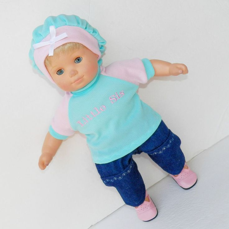 """Fits 15"""" Bitty Baby or Bitty Twin and other similar sized dolls. This is made to fit your 14-16"""" doll including Bitty Baby. She'll look stylish and sweet in this cute outfit. It is for one navy blue embroidered with white stitching capri length shorts made to fit your 15"""""""" doll.   eBay!"""