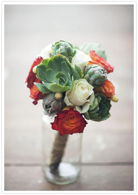 beautiful bouquet of succulents and roses