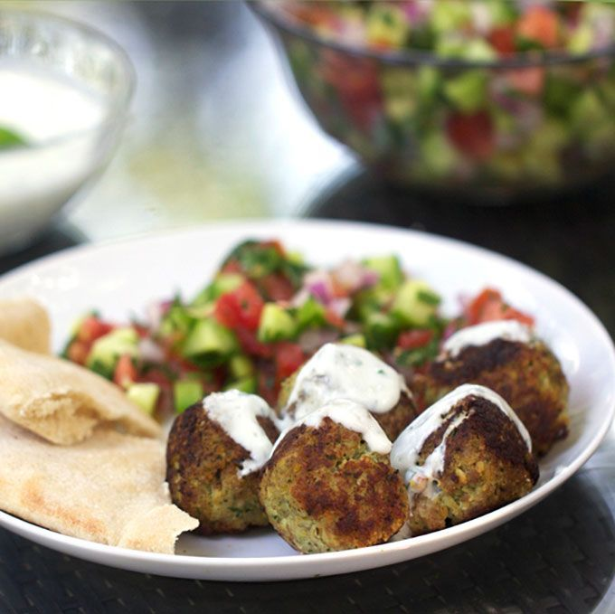 Turkey Falafel Meatballs with Lemon Yogurt Sauce • delicious tender meatballs made from turkey, chickpeas, garlic, herbs and spices • Panning The Globe