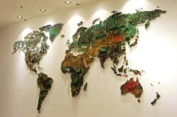 Upcycled World Map Brings E-Waste Into Focus