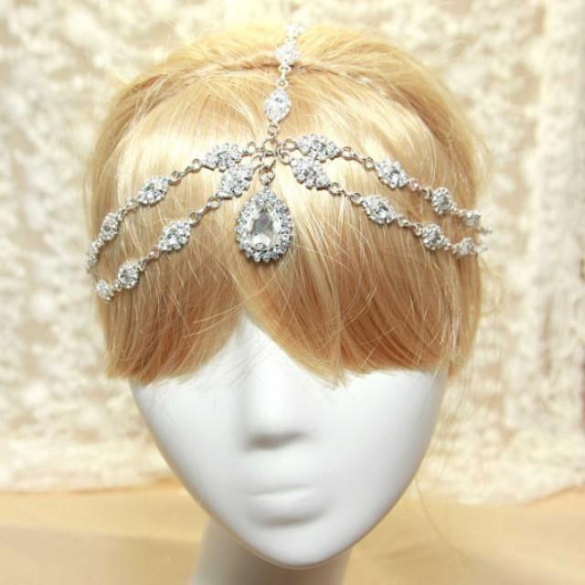 Teardrop Crystal Hair Swag,Forehead Chain Headdres…