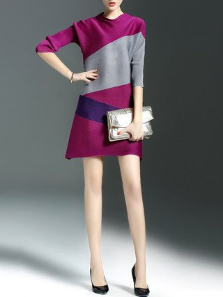 Simple Half Sleeve A-line Polyester Mini Dress