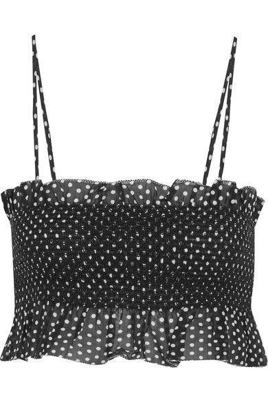 Lisa Marie Fernandez - Selena Smocked Polka-dot Cotton Top - Black