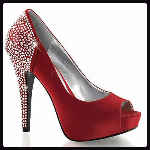 Fabulicious sexy Platform Peep Toe Pump Lolita-08,Strass, Rouge-Satin, 35-41 - Damen pumps (*Partner-Link)