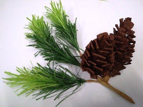 DIY - How to make paper flower - pine nut & leaf by crepe paper - Làm quả thông giấy nhún - YouTube