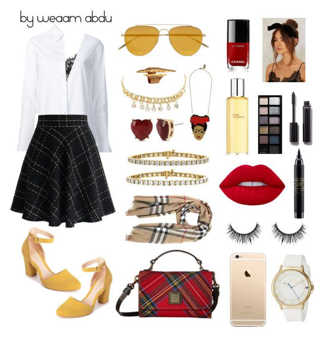 """""""red. yellow. black.  white."""" by weaam-abdu on Polyvore featuring Dooney & Bourke, Topshop, Misha Nonoo, Chicwish, Patricia Nicolas, Charlotte Russe, Burberry, Tomas Maier, Betsey Johnson and Lime Crime"""