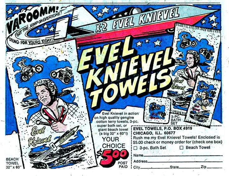 evel knievel towels advertisement