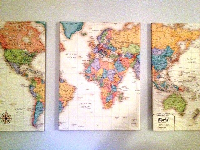 "Lay a world map over 3 canvas (foam core would be cheaper), cut into 3 pieces. Coat each canvas with Mod Podge and wrap the maps around them like presents. Let dry and hang on the wall about 2"" away from each other. Then add pins to all the places you've been.  <3"