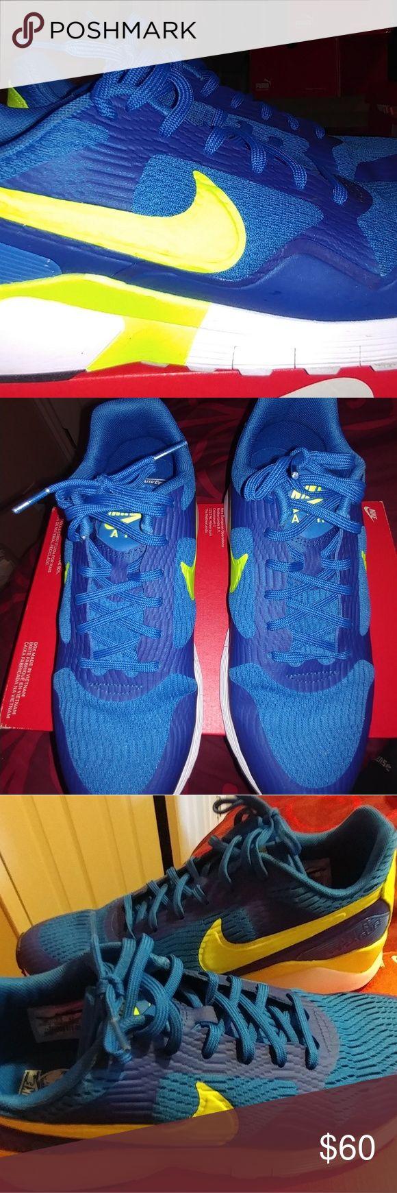 Women's Nike Air Pegasus Blue spark/volt (greenish-yellow)/white Nike Shoes Athletic Shoes
