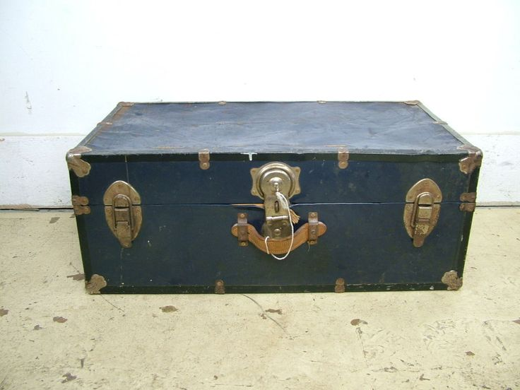 50s Metal Vintage Industrial Steampunk Tin Brass Steamer Trunk Key Coffee Table In Antiques