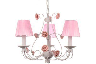 Φωτιστικό κρεμαστό 3 Χ Ε14 Φ50 εκ. χρ. Λευκό με ροζ καπέλα & τριαντάφυλλα