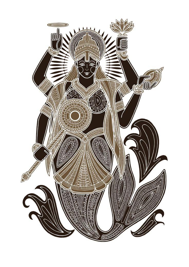 Matysa (the fish), a silkscreen print by Poonam Mistry.