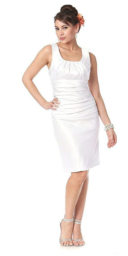 CLEARANCE - Short Tight Fit White Cocktail Dress Knee Length Satin Tank Straps (Size XS)