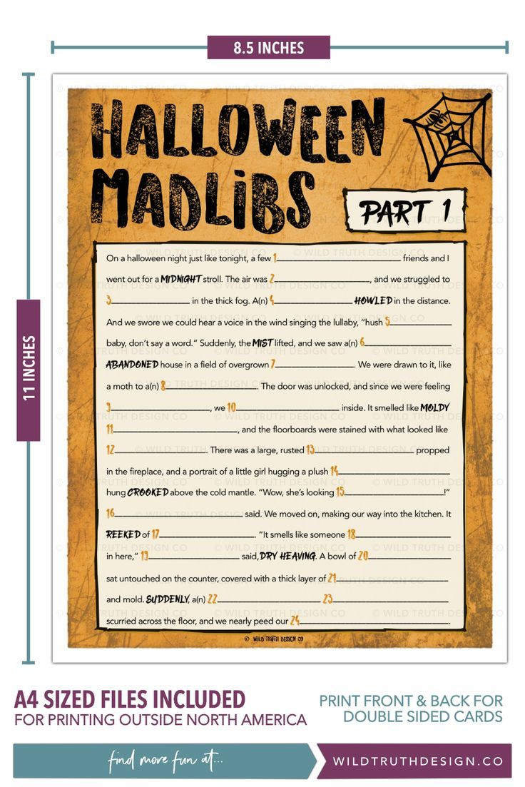 Printable Halloween Mad Libs Party Game For Adults & Teens