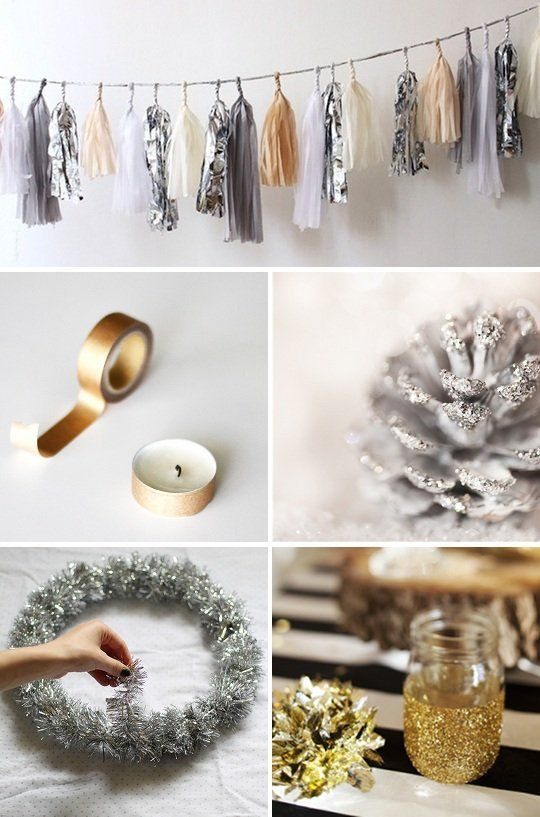 Silver & Gold:  DIY Decorations for the   Holidays