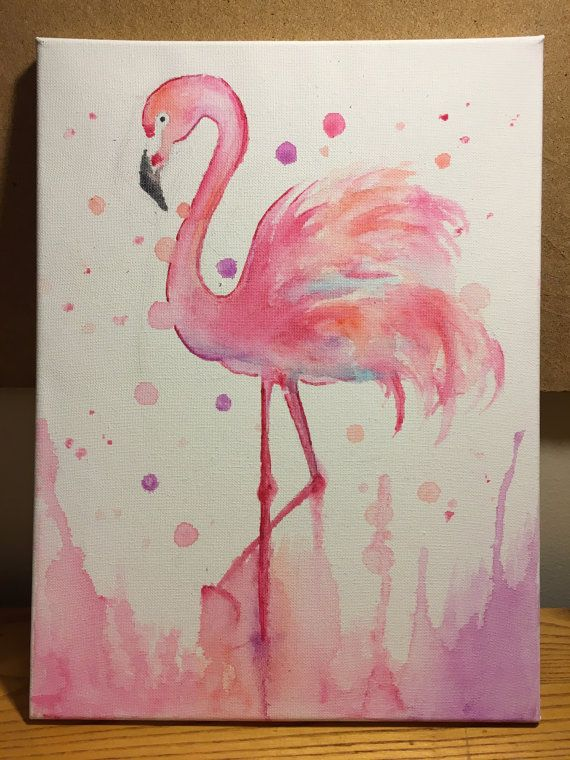 Flamingo acuarela lienzo por AdArtHouse en Etsy