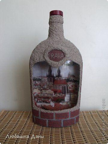 Декор предметов Декупаж Воспоминание о Праге Бутылки стеклянные фото 1