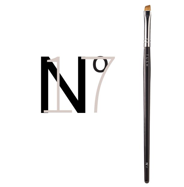 Nr 17 Angled Brow/Eye Liner Brush. This brush's flat angled tip works to draw on eyeliner or brows with expert precision. Available at www.tushbrushes.com