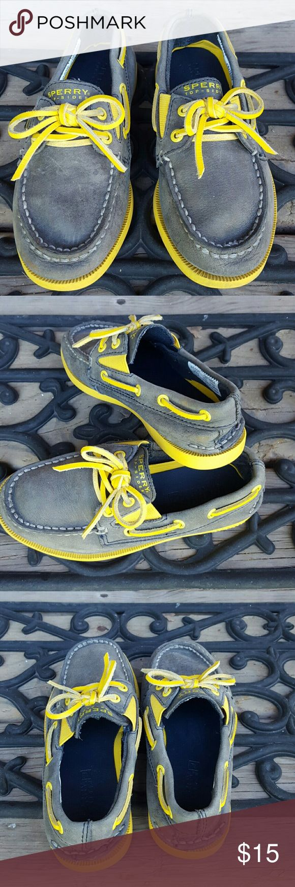 Final price⬇boy suade Sperry Top-Sider shoes 11 Gray suade and yellow toddler Sperry Top-Sider boat shoes are too cute! Size 11. The sunny yellow gives such a nice pop of color to the muted gray suade. In good use condition. No rips, tears or stains. The back heel has an embossed sperry logo, no sperry tab on the back of the sole (came lose so it was removed) I'm listing a total of 4 sperry boys shoes, in similar size. Thank you! Sperry Top-Sider Shoes Moccasins