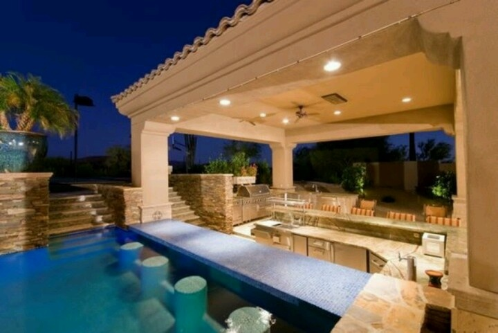 Swim up bar outdoor kitchen neutral outdoor living for Outdoor kitchen designs with pool