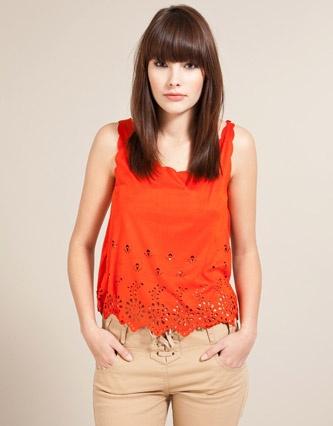 Miso Scallop Hem Vest Top in bright orange. Cute <3