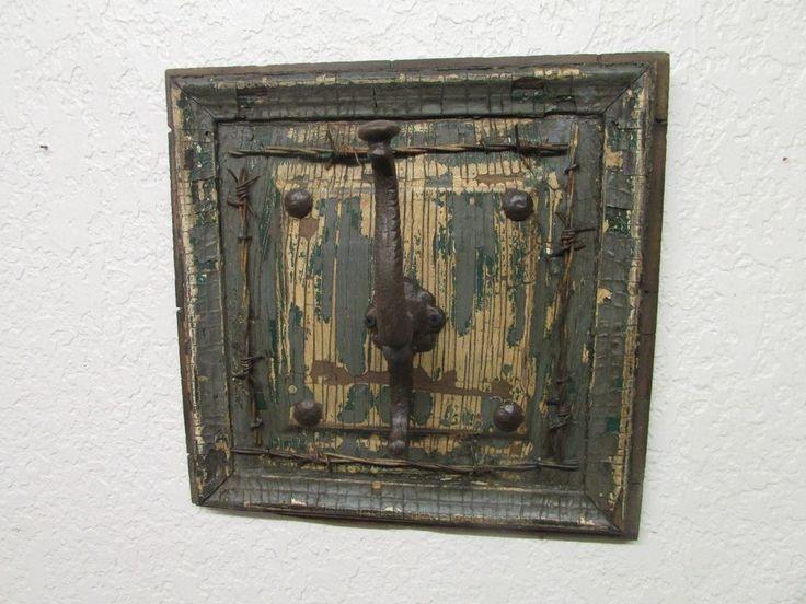 Rustic Old Door Panel Hat Rack-Mexican-Western-Cowboy-Antique-Barbed Wire-14x14