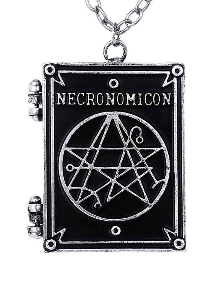Silver Necronomicon Book Locket Pendant Necklace HP Lovecraft Jewelery