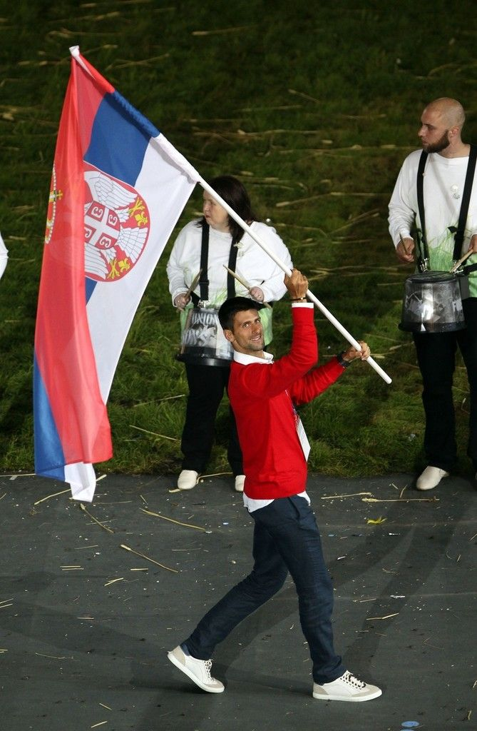Novak Djokovic carrying the Serbian flag at the Olympics :)