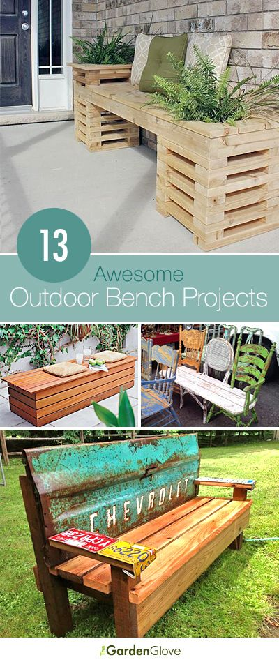Love the bench with the tailgate - 13 Awesome Outdoor Bench Projects, Ideas & Tutorials!