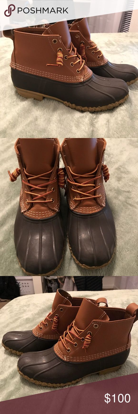 """L.L. Bean duck boots 6"""" L.L. Bean bean boots/ duck boots. Worn very few times. A few frayed stitches (pictured) and some slight staining from denim on the inside of the tongue (pictured). So nice and comfy, and very warm! Just not my style any more. I can't find a size on them and I don't remember what size I got since I got them a few years ago, but I typically wear a 10 and I heard to size down, so I'm going to assume a women's 9-10. L.L. Bean Shoes Winter & Rain Boots"""