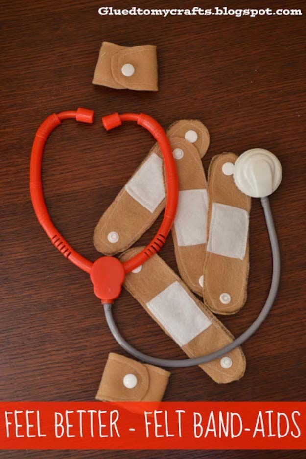 DIY Christmas Gifts for Kids - Homemade Christmas Presents for Children and Christmas Crafts for Kids | Toys,  Dress Up Clothes, Dolls and Fun Games |  Step by Step tutorials and instructions for cool gifts to make for boys and girls |  Feel Better Felt Band Aids  |  http://diyjoy.com/diy-christmas-gifts-for-kids