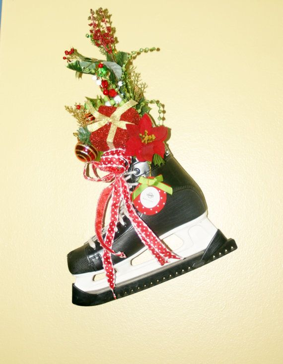 Ice Skates Decoration Christmas Decoration Hockey by FabbCreations, $45.00