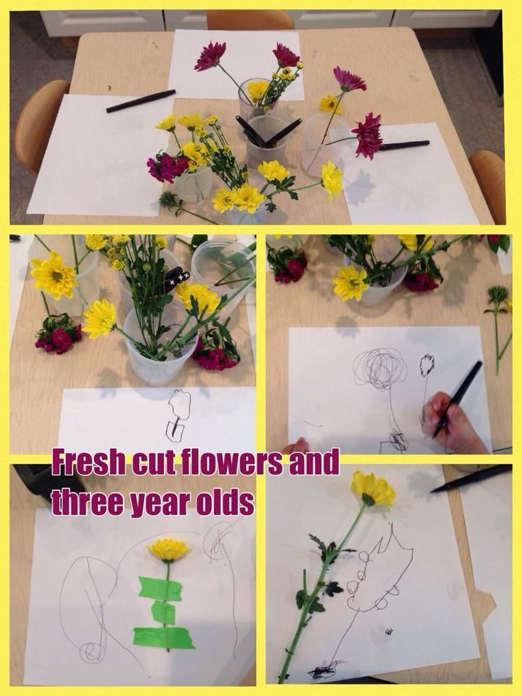Flowers and three year olds