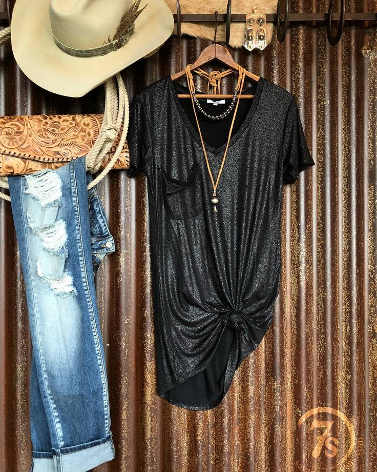 We love when pieces give you multiple styling options. The McCoy shimmery pocket tee dress does just that! Were actually partial to it side knotted with your favorite denim  #nfrfashion #savannah7s #style