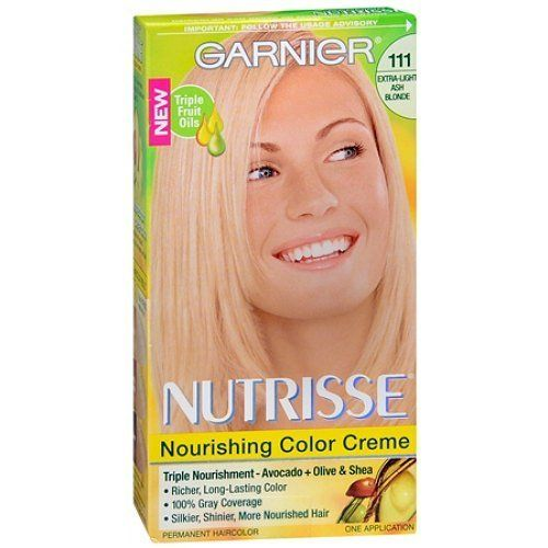 Garnier Nutrisse Level 3 Permanent Creme Haircolor, Extra-Light Ash Blonde 111 (White Chocolate) 1 ea ** You can find more details by visiting the image link. (This is an Amazon affiliate link)