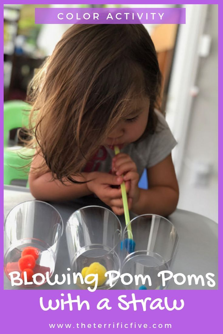 Blowing Pom Pom with Straws: Color Sorting Activity